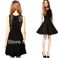 Sexy Women's Lace Black O-Neck A Line Dress Slim Fit Waist Empire Dress Sleeveless Party Casual Dresses 1pcs/lot Free Shipping