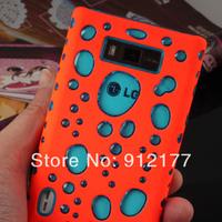 Orange PC+Gel 2 in 1 3D Bubble Design Hard Case Protective Cover For LG L7 Optimus P700 P705 + Screen Protector