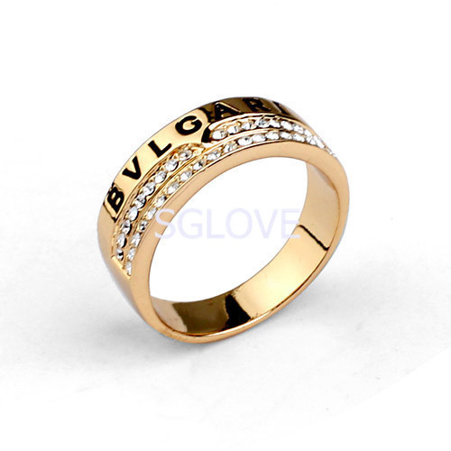 SGLOVE Wellknown Series 18K Gold Plated 100 Auatrian Crystals setting temperament Band Ring For Women wholesale