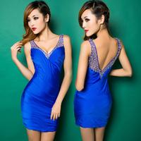 Fashion 2014 V-neck sexy beading gauze patchwork slim hip slim sleeveless one-piece dress h0945