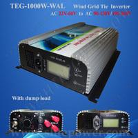 free shipping!1000w wind grid tie inverter ,3 phase LCD wind inverter ,AC22-60V To AC190V-260V