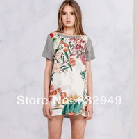 2014 Summer New Vintage Dresses Women Cameo Flower  Printed short sleeve dress