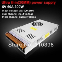 30mm Ultra thin dual input 100-240v switching mode 5v power supply, 5v 60a 300w power supply,led lamp or display use