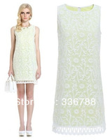 2014 Spring and Summer Genuine Brand Flower Embroidery Organza Sleeveless Female Dress