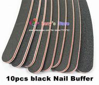 Free Shipping 10pcs/lot 100/180 Durable Sandpaper Black Curve Nail File Buffe Tool Nail Art Shiner Manicure Pedicure Nail Tool