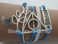 new 2014 bracelet & bangle wish branch lucky bird harry port sister bracelet for friendship blue and white leather bracelets N33