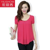 2014 spring women's solid color slim plus size clothing summer short-sleeve chiffon shirt short-sleeve T-shirt female