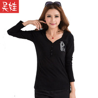 2014 spring letter print top embroidery long-sleeve T-shirt plus size slim basic shirt