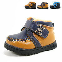 Genuine leather thickening cotton-padded baby toddler shoes baby shoes boots baby boy children shoes children warm shoes