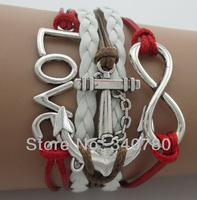 2014 new arrive bracelet  fashion bracelet big infinity love and anchor bracelets colorful leather wax cords  N37