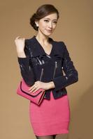 2014Spring Women's Printing Slim Genuine Leather Short Jacket Sheepskin Leather Motorcycle Short Design  Jacket Women C1108