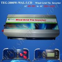 free shipping!2000w wind grid tie inverter ,3 phase LCD wind inverter ,AC45V-90V To AC190V-260V
