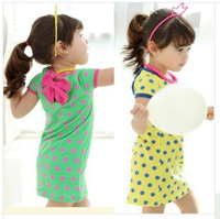 2014 New 1 pci Girls candy dot even a dress with short sleeves