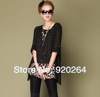 Free Shipping 2014  New Arrival Fashion  Hot Sale Korean Style  Chiffon Leopard Plus Size  Long Sleeve O-neck   Women T-shirts
