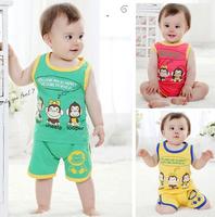 Retail 2014 new fashion baby summer clothing set, vest + short pant 2-piece set, Leopard kids set free shipping