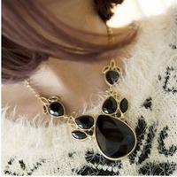2014 New Style Hot Sale Fashion Multi-slice Black Gem Exaggerated Women Necklace XLF67