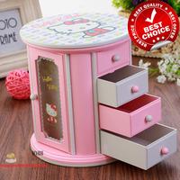 Free shipping, Big Discount  $13.5/piece Hello Kitty music box,wedding souvenir,door makeup ,wooden musical box for girls