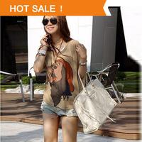 Spring 2014 New Fashion Shirts Woman Lady Cartoon t shirt Women Summer Plus Size Loose Tops Dwarfs Print Tees Tshirt Clothing