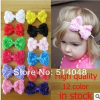 20pcs Wholesale baby girls Bowtie DIY Chiffon flowers Center Flat Back for hair headband 12Colors Gilr hair accessories