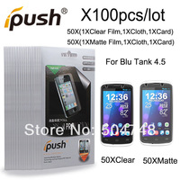 100pcs/Lot High Quality( Matte/Anti-Glare+Clear )Screen Protector Film  For BLU Tank 4.5 With Ipush Package DHL EMS HK Shipping