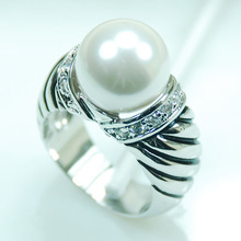 Wholesale & Retail Brand New White Pearl Crystal 925 Sterling Silver Women Ring Free Shipping R270 USA Size 6 7 8 9 10(China (Mainland))