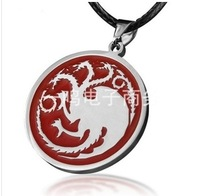 free shipping 30pcs/lot Game of Thrones Inspired Necklace Targaryen Sigil Dragon Silver Necklace