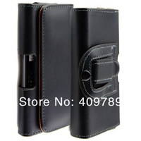 For Samsung Galaxy S5 i9600 Waist Belt Clip PU Leather Case, Black Color