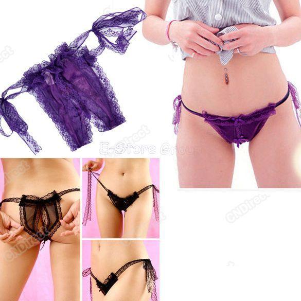 Hot mulheres Sexy abrir calcinhas Crotch Slipknot tangas fio dental Bikini roupa Lingerie senhoras grátis frete 7264(China (Mainland))