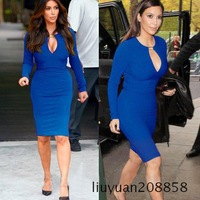 2014 Fashion spring Star Style sexy V-neck metal buckle slim hip slim evening dress long-sleeve dress basic skirt