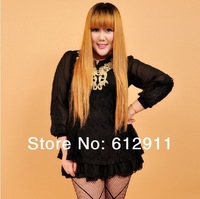 2014 Spring Hot Sale Fashion Korea Fat women Cute Black Green Red Lace Plus-size Long Sleeves Embroidered Shirt Dress