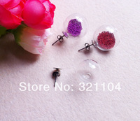 Free ship! 10sets/lot 16*4mm Glass Ball Glas Vial & Earing Base set  DIY (not include the fillers)