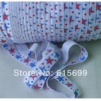 "5/8"" Printed FOE, star blue and red Fold over elastic, 4th of July foe ribbon, welcome custom print!"