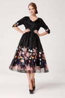 2014 New In Fashion Women's Dress Embroidered Slim Chiffon Lace Basic Half sleeve Lace Female Dress