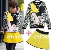 Free shipping ladies womens minnie mouse office mini skirt and top matching set colors fashion sets