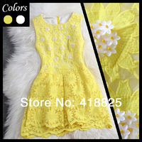 2014 spring summer designer women's dresses yellow white flower beading sunflower embroidery fashion vintage cute brand dress