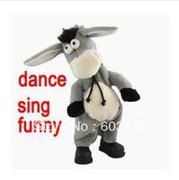 Free Shipping New 2014 BIg Size Music Shook Head Donkey /Electric Donkey /Dance Sing Donkey toy Funny Plush Toy For Children