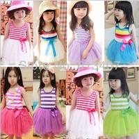 Free shipping Best off 2013 Summer Girl Puffy dress Dancing clothing Princess Tutu Dress Rainbow striped dress Kids clothing
