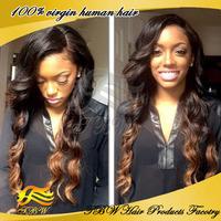 Ombre U Part Wig Brazilian long wavy 1bT33 two tone u part human hair wigs for black women 130-150 density in stock