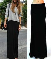 Free Shipping 2014 New Fashion Brand Large Plus Size Black Fold Over High Waist Banded Minimalist Jersey Knit Long Maxi Skirt