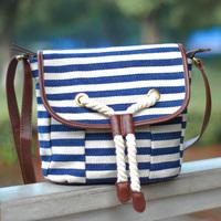 New 2014 Sac Summer Korea Style Stripe Lady Messenger Bag Navy blue Leather Canvas Shoulder Bag Tassel Cross body Bags Black,red
