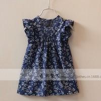 New arrival wholesale 6pcs/lot fashion summer cotton baby dress pretty girl ruched flowers dress princess floral blouse dress