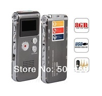 Christmas gifts FREE shipping Rechargeable 8GB Voice Activated USB Digital Audio Voice Recorder Dictaphone MP3 Player