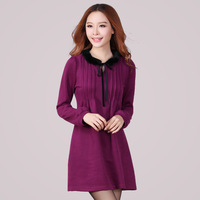 Women Large Size XL-4XL Long Sleeve Pleated A LIne Loose Dress Free Shipping ynd2065