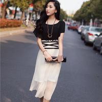 Free Shipping 2014 New Fashion women's Short Sleeve Summer Chiffon Dress Black White Two Colors Puls Size XS S M L XL #12966