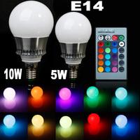 Newest 5w/10w E14 LED RGB bulb AC85~265V 32 COLORS LED Bulb Light Spot Light LED Lamp +Romote controller Bright Limited  Offer