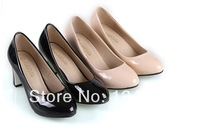 2014 new fashion cheap free shipping Korean high-heeled patent leather with thick metal city girl shoes