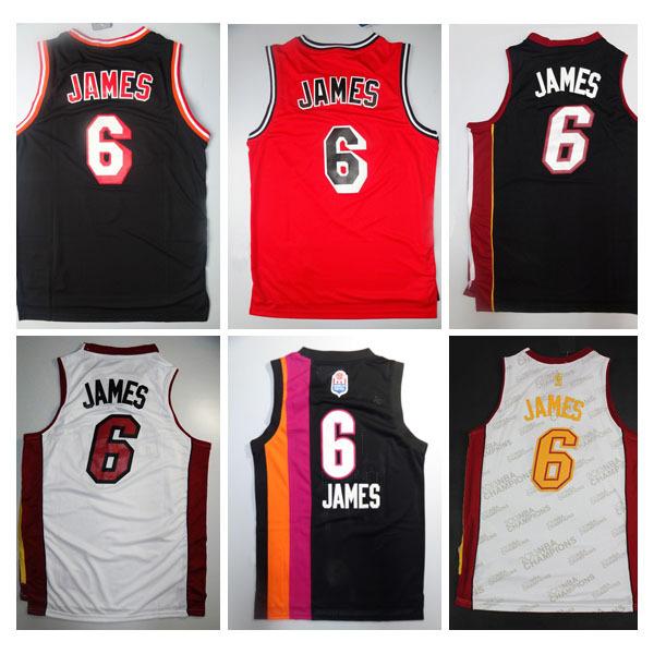 Spedizione gratuita lebron james miami 6 maglia, lebron james jersey di casa, via, liceo, jersey lebron maglie da basket