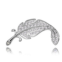 Top Quality Fashion Cute Bling Blue Austrian Crystal Leaf Feather Brooch