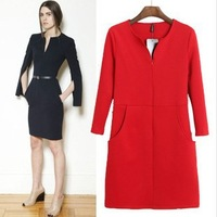 Fashion V neck placketing sleeves slim hip pencil step dress with pocket