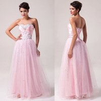 Fast Shipping! Grace Karin Long Light Pink Corset style Prom Dress Gown CL6042